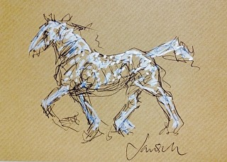 Heather Jansch, Dapple Trotter 2014, Ink on Acid Free Paper