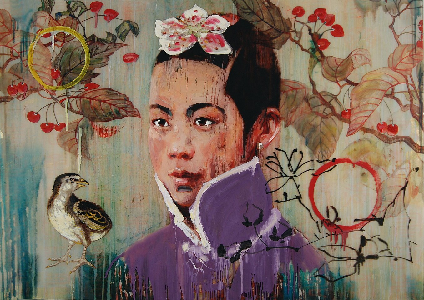 Hung Liu, Cherry III Mixed Media