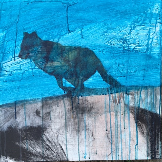 Helen Durant, Day Wolf 2016, Charcoal, Acrylic, and Ink on Canvas
