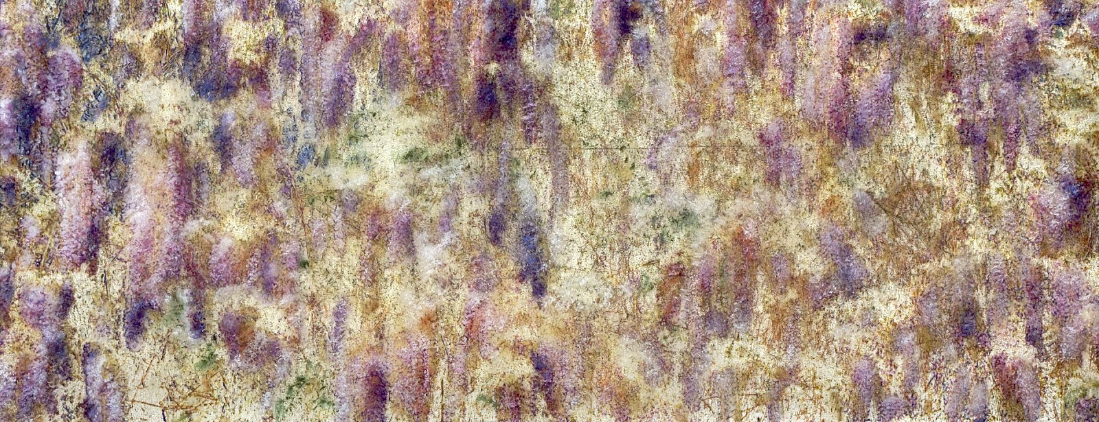Susan Goldsmith, Lavender lace 2017, White Gold Leaf with Pigment Print, Acrylic Paint, Watercolors and Resin on Panel