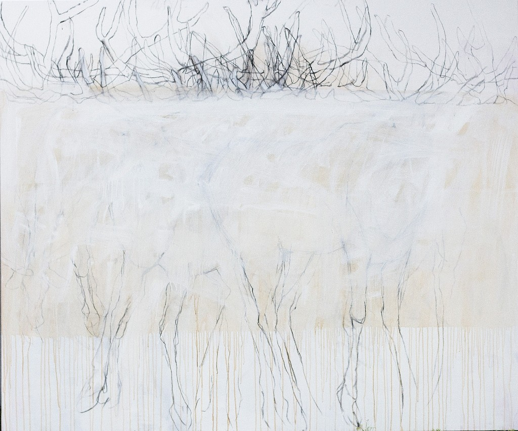 Helen Durant, Wyoming Winter White 2018, Acrylic and Charcoal on Canvas