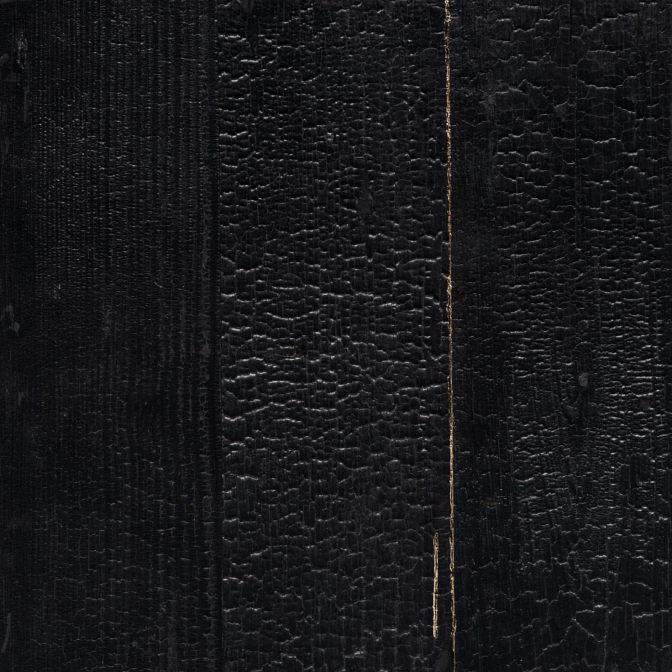Miya Ando, Shou Sugi Ban Kintsugi: Light Came From Inside The Temple 2 Gold leaf, lacquer and charred cedar