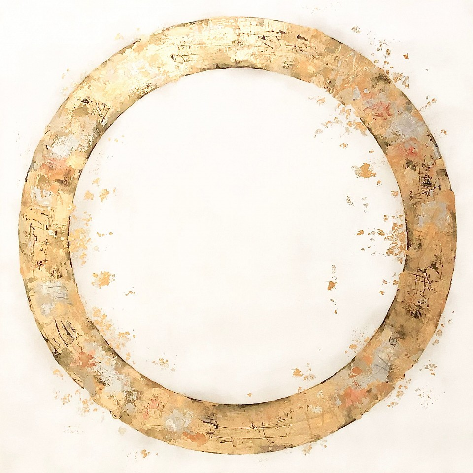 Takefumi Hori, Circle No 125 Acrylic, gold leaf and metal leaf on canvas