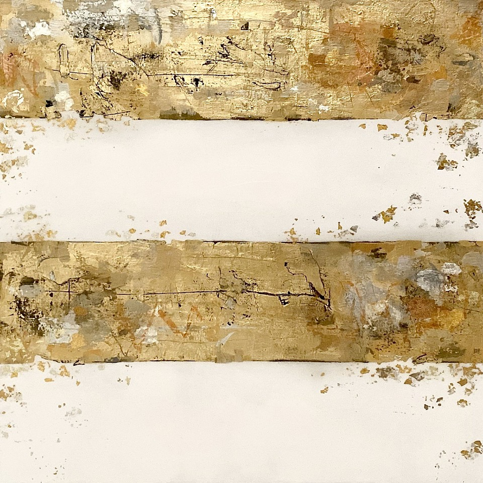 Takefumi Hori, Lines No. 5 2019, Acrylic, gold leaf and metal leaf on canvas